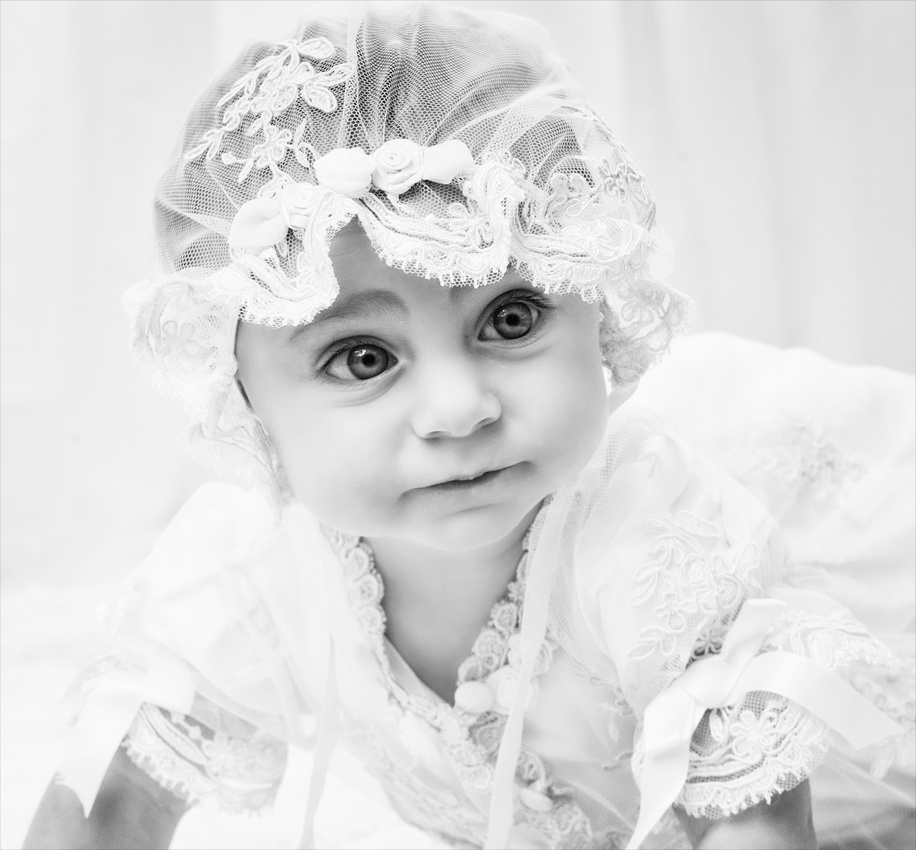 B&W Baby image in vintage